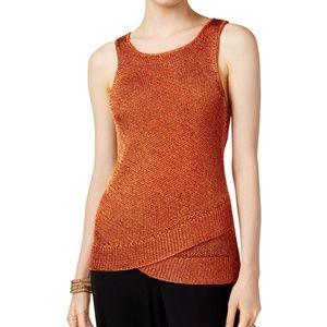 Bar III Womens Top Metallic Sweater Tank Knit